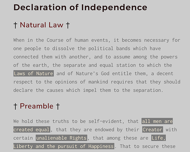 image of web page with Declaration of Independence in big type